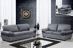 Shop Contemporary Dark Grey Black Full Leather Living Room Set with great price, The Classy Home Furniture has the best selection of to choose from Contemporary Bedroom Furniture, Living Room Furniture, Leather Living Room Set, 3 Piece Sofa, Sofa Price, Best Leather Sofa, Couch Set, Beautiful Living Rooms