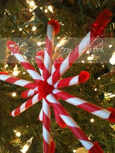 Red and White Striped Paper Straw Snowflakes