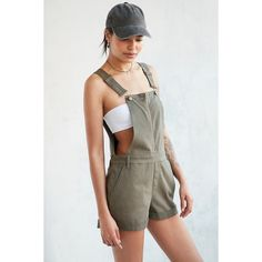 BDG Utility Zip-Front Shortall Overall ($69) ❤ liked on Polyvore featuring jumpsuits, olive green jumpsuit, shorts overalls, overalls jumpsuit, army green jumpsuit and sleeveless jumpsuit
