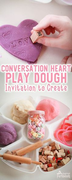 Inspired by Valentine favorite conversation hearts, this simple play dough activity for kids is great for working on creativity, fine motor skills, sensory play AND early literacy skills. Perfect for toddlers, preschoolers and early readers Valentine Sensory, Valentines Games, Valentine Theme, Valentines Day Activities, Holiday Activities, Valentine Day Crafts, Activities For Kids, Valentine Ideas, Literacy Activities