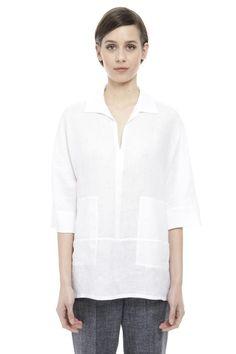 Casacca in puro lino, bianco - Diffusione Tessile