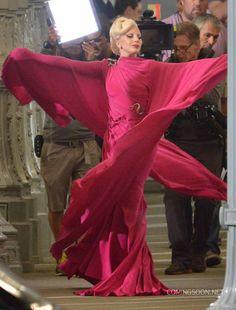 Lady Gaga Filming American Horror Story: Hotel ***THAT. DRESS!***