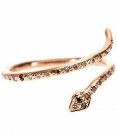 Ileana Makri - Small Python 18kt rose gold ring with brown and green diamonds