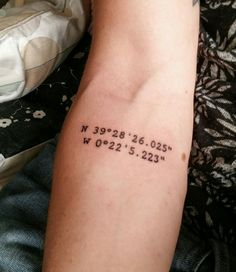 My third tattoo, got it in Valencia Spain. These are the coordinates of our b&b Valencia suits you. My girlfriend and i got te same, because of the great time we had there and because its just a beatyfull a great city!! Mais
