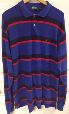Polo by Ralph Lauren Blue Red Black Striped Long Sleeve Polo Sweater Size XL EUC #PolobyRalphLauren #Polo