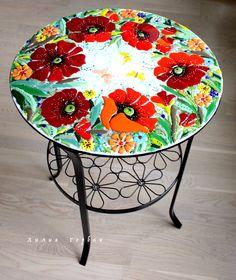 авторская работа, handmade, glass, стекло, цветное, фьюзинг, стол, мебель, цветы, Лилия Горбач