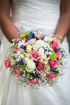 Bride's Pretty Round Bouquet: White Peonies, White/Yellow Daisies, White Button Mums, White Gypsophila, Pink Spray Roses, Blue Forget-Me-Nots, Green Snowball Viburnum