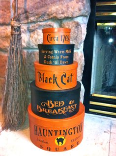 I am please to offer a set of five Primitive Halloween Black Cat Shaker Boxes. The set of five stand 26 tall and the largest box is 14 in diameter. They are hand painted with Terra Cotta and Black and then aged for that primitive worn look. It comes from a smoke free environment. Please feel free to contact me with any questions.