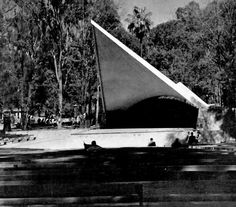 Concha Acústica del parque Agua Azul, Cal. Independencia Sur 973, Guadalajara, Jalisco, Mexico 1959    Arq. Alejandro Zohn -    Bandshell, Park Agua Azul, Guadalajara, Jalisco, Mexico 1959