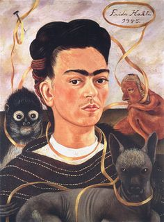 Autorretrato con changuito. FRIDA KAHLO. Cd. de México. (1907-1954). 1945. Óleo sobre masonite. 60 x 42.5 cm. - Fundación Robert Brady, Cuernavaca.