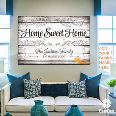 "For a limited time - add your family name and date at NO EXTRA COST!  ""Home Sweet Home"" Quote on a beautiful wooden image backdrop, premium printed canvas.  ADD YOUR NAMES, SELECT YOUR REQUIRED SIZE THEN CLICK ""ADD TO CART"" TO BUY  Limited time run of this print! Be sure to order while you can!   	 Proudly made in the USA  	Our canvases are delivered ready to hang!  Stretched on a wood frame around a 0.75″ thick wood frame 	Lightweight yet strong frame  Easy to hang - No mounting hardware…"