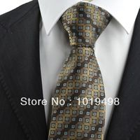 free shipping 1pcs mens dress ties new Brown Bronze Coin Checked Pattern JACQUARD WOVEN Microfiber Men's Tie Necktie,Width 8.5cm