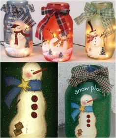 Painted Jolly Snowmen - 12 Magnificent Mason Jar Christmas Decorations You Can Make Yourself (Diy Christmas Mason Jars) Mason Jar Christmas Decorations, Christmas Mason Jars, Christmas Ornaments, Holiday Decorations, Christmas Lights, Christmas Projects, Holiday Crafts, Christmas Time, Christmas Ideas
