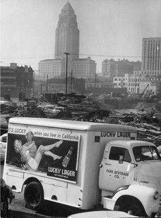Lucky Lager beer truck with L.A. City Hall in background.  We could see the City Hall building from our house in El Segundo.  It was the only tall building you could see then...there were no others!  Now, and for many years now, L.A. has actually had a skyline!  :-)