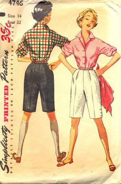 Vintage 1950's Womens Blouse and Shorts Pattern, Simplicity 4746 Sewing Pattern, Size 14