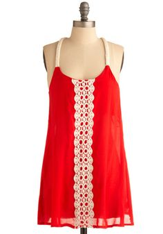 I love how delicate the lace is on the sheer fabric.  I also love the unexpected combination of the cream lace and the current red/orange. Horizon Haze Top by Mod Cloth $37.99