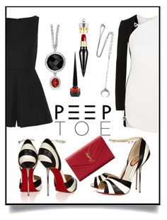 """""""Black & White Peeptoe"""" by tygriss ❤ liked on Polyvore featuring Christian Louboutin, Alexander McQueen, Thierry Mugler, Yves Saint Laurent and Chan Luu"""