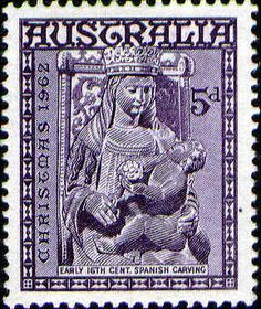 """AUSTRALIA - CIRCA A stamp printed in Australia from the """"Christmas"""" issue shows Madonna and Child (early century Spanish carving), circa — Imagen de stock Christmas In Australia, Aussie Christmas, Going Postal, Stamp Printing, Madonna And Child, Mail Art, Stamp Collecting, 16th Century, Postage Stamps"""