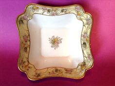 SOLD! NIPPON-Noritake-Square-Deco-Bowl-Hand-Painted-With-Gold-Moriage-Beading