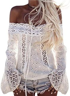 Special Offer: $18.99 amazon.com Material: LaceFeatures: Flare Sleeve, Sexy Off Shoulder Design, Tie Front Casual Shirt BlouseYou Can Tuck It Into Trousers, Jeans, Shorts or Skirts to Get a Casual Yet Stylish Look. Perfect for a Casual Look or a Posh Night Out.Generally Advise Check the Left...