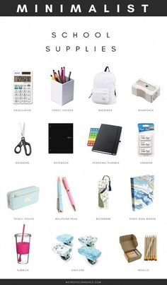 Minimalist School Supplies for College and High School. School essential packing list for girls and boys. Minimalist School Supplies for College and High School. School essential packing list for girls and boys. Middle School Supplies, Middle School Hacks, High School Hacks, School Supplies Highschool, High School Essentials, Back To College Supplies, Back To School Tips, College Supply List, College Backpack Essentials