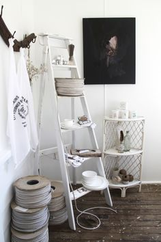 white ladder display