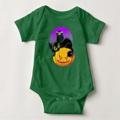 Kitten & Owl Baby Jersey Bodysuit  $17.95  by RichAie28  - cyo diy customize personalize unique