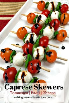 Caprese Antipasto Skewers are the perfect last minute appetizer for any holiday celebration! Easy, delicious and they look beautiful on any buffet table.