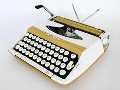 Smith Corona Profile 100 Manual Typewriter / Mustard by PopBam. #typewriter #smithcorona #vintageoffice #midcentury