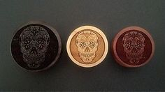 "100 Handmade ""Skull Candy Day of The Dead"" Organic Wood Plugs 0g 30mm New 