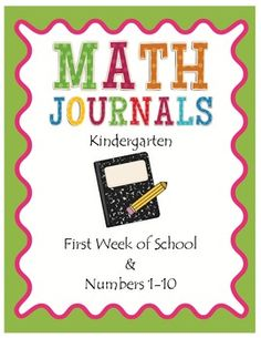 K Math Journals: First 5 Weeks