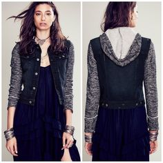 Free People Marled Denim Jacket So chic and perfect for any season! Dark washed denim with marled knitted sleeves and hood. Brand new with tags. No trades!! 032516250tmr Free People Jackets & Coats Jean Jackets