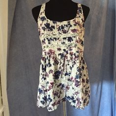 Floral print tank top Tank top with blue and purple floral print with lace cut outs Lorimer Tops Tank Tops