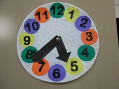 Craft clock. We used paper plate and printed numbers of on color paper. Great way to teach time.