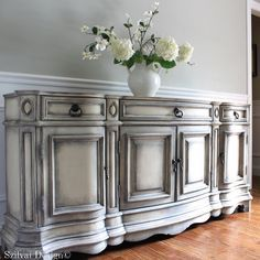 SOLD to JANICE - PULASKI Buffet Sideboard - Swedish Gustavian Style Hand Painted Shabby Chic Weathered Neutral Grey Console Cabinet