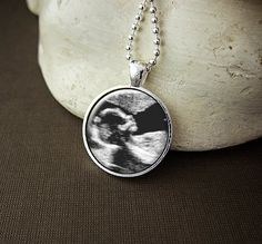 Custom Sonogram Necklace, Ultrasound Gift - Your Baby Boy or Girl First Picture On A Glass Pendant Necklace, $13.00