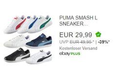 """Ebay: Puma-Sneaker für 29,99 Euro frei Haus im Angebot https://www.discountfan.de/artikel/klamotten_&_schuhe/ebay-puma-sneaker-fuer-2999-euro-frei-haus-im-angebot.php Als """"Wow! des Tages"""" sind heute bei Ebay Puma Slash-Sneaker zum Schnäppchenpreis von 29,99 Euro frei Haus zu haben – im Angebot sind neun Farben in zahlreichen Größen. Ebay: Puma-Sneaker für 29,99 Euro frei Haus im Angebot (Bild: Ebay.de) Die Puma Slash-Sneaker für 29,99 Euro... #Schuh"""