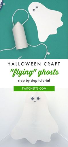 These construction paper ghosts actually fly when the string is pulled. Kids will love playing with this Halloween craftivity as much as they will enjoy making them! #twitchetts #halloween #ghosts #constructionpapercrafts