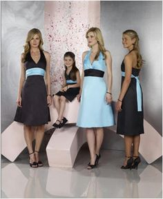 Something like this would be cute. I've thought about having my MOH in the main color with a black waist sash, and my bridesmaids in the accent color with a black waist sash