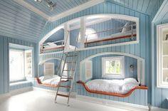 lovely blue bunkbed/sleeping nook