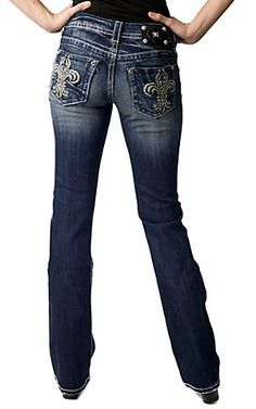 Miss Me® Ladies Embroidered Fleur De Lis w/ Crystals & Studs Boot Cut Jean -Cavenders Boot City