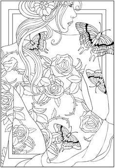 Free coloring page coloring-adult-back-tattooed-woman.