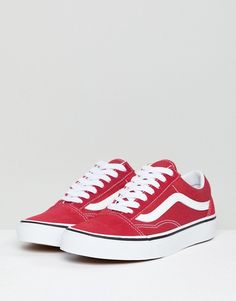 Vans - Old Skool - Baskets - Rouge Vans Rouge, Vans Old Skool Trainers, Rihanna Shoes, Baskets, Basket Sport, Shoes Outlet, Fashion Killa, White Sneakers, Vans Shoes