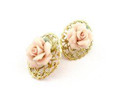 Vintage Rose Earrings| Vintage Filigree Earrings| Pink Flower earrings| Gold Tone Earrings| Gift for her| Mom Gift| Mothers Day