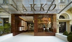 Store interior and exterior.  Wood with glass, semi modern