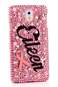 Pink Ribbon Perseverance Personalized Name & Initials Design Samsung Galaxy Note 4 bling case phone cover for girls