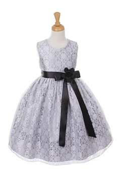 Girls Dress Style 1132- SILVER Taffeta and Lace CREATE YOUR OWN DRESS  The perfect dress for her special day, this dress is so stylish. The dress is made in beautiful floral lace and the waist line is accented with an adorable bow. The skirt on this dress has the perfect amount of fullness. Comes in endless removable satin sash and pin on flower color options.  http://www.flowergirldressforless.com/mm5/merchant.mvc?Screen=PROD&Product_Code=CC_1132SVBB&Store_Code=Flower-Girl&Categor..