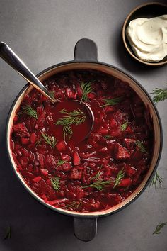 Beef and beet borscht can be made up to three days in advance. The flavours in t… Beef and beet borscht can be made up to three days in advance. The flavours in this traditional Eastern European soup develop and improve overnight. Beet Borscht, Borscht Recipe, Beet Soup, Best Soup Recipes, Beet Recipes, Cooking Recipes, Favorite Recipes, Curry Recipes, Chowder Recipes