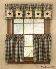 This Star Patch Valance, by Park Designs is a Curtain Window Treatment that really makes a statement. Black & tan check with thin wine running through it, has stitched patches along the bottom. Each p
