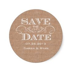 Country Burlap Print Save the Date Sticker
